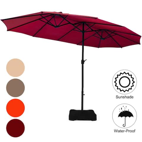 Costway 15 Ft Patio Double Sided Umbrella Outdoor Market Umbrella
