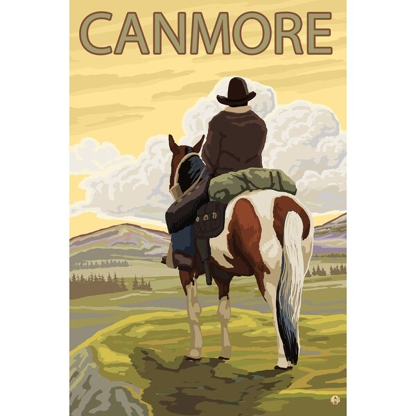 Canmore, Alberta, Canada - Cowboy - LP Original Poster (Art Print -  Multiple Sizes Available) - 9 x 12 Art Print