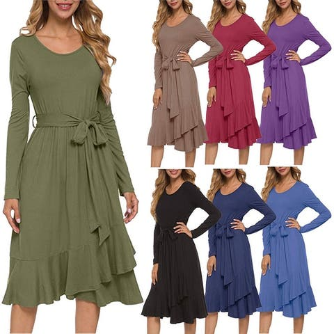 Women's Plain Long Sleeve Flowy Modest Midi Work Casual Dress With Belt