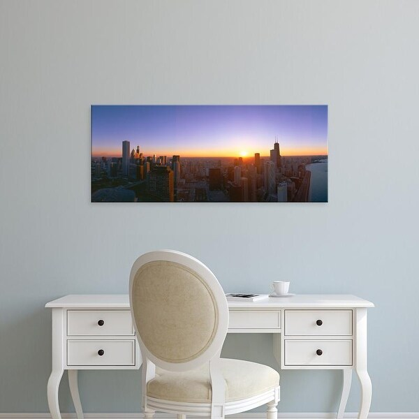 Easy Art Prints Panoramic Images's 'Chicago Sunset, Aerial View, Illinois' Premium Canvas Art