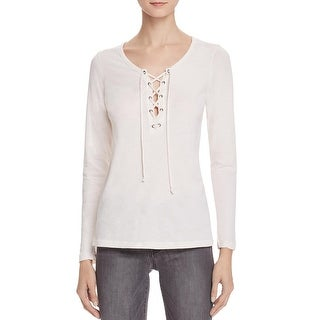 Velvet Womens Casual Top Lace- Up Long Sleeves