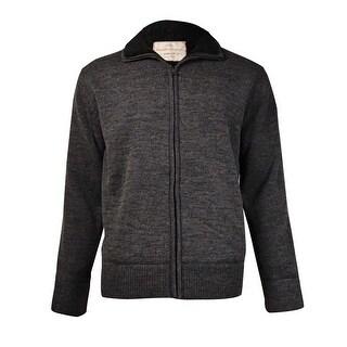 Weatherproof Men's Sherpa-Lined Sweater Jacket (Charcoal Heather, L)