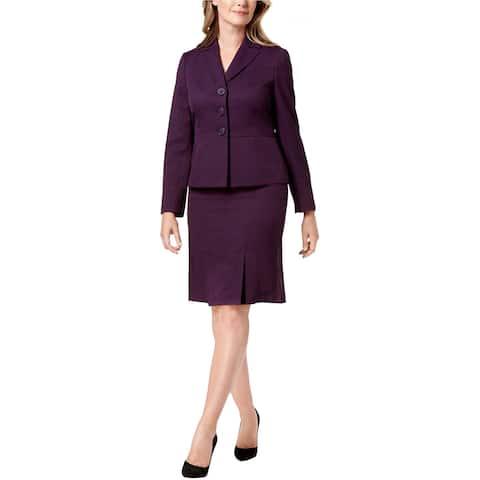 Le Suit Womens Solid Three Button Blazer Jacket, purple, 4P