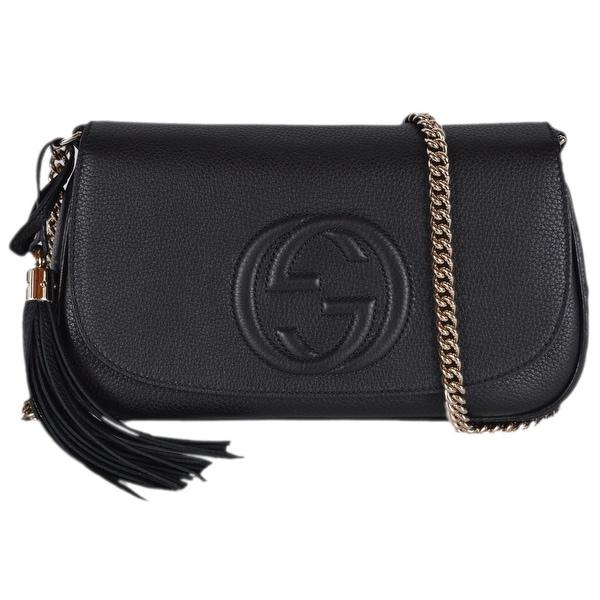 7dfb0b131ac8 Shop Gucci 536224 Black Leather SOHO Tassel Crossbody Purse Handbag ...
