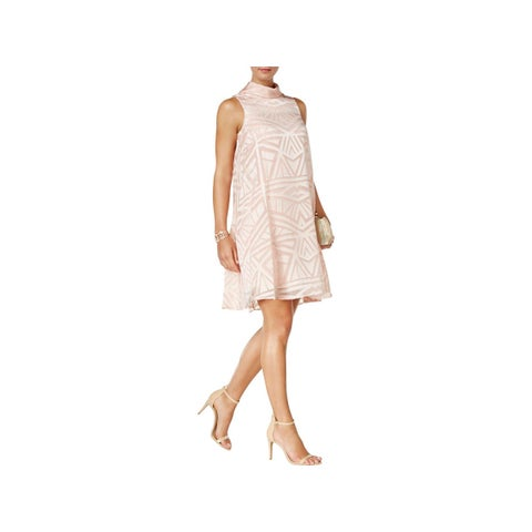 Vince Camuto Womens Cocktail Dress Mock Neck Burnout