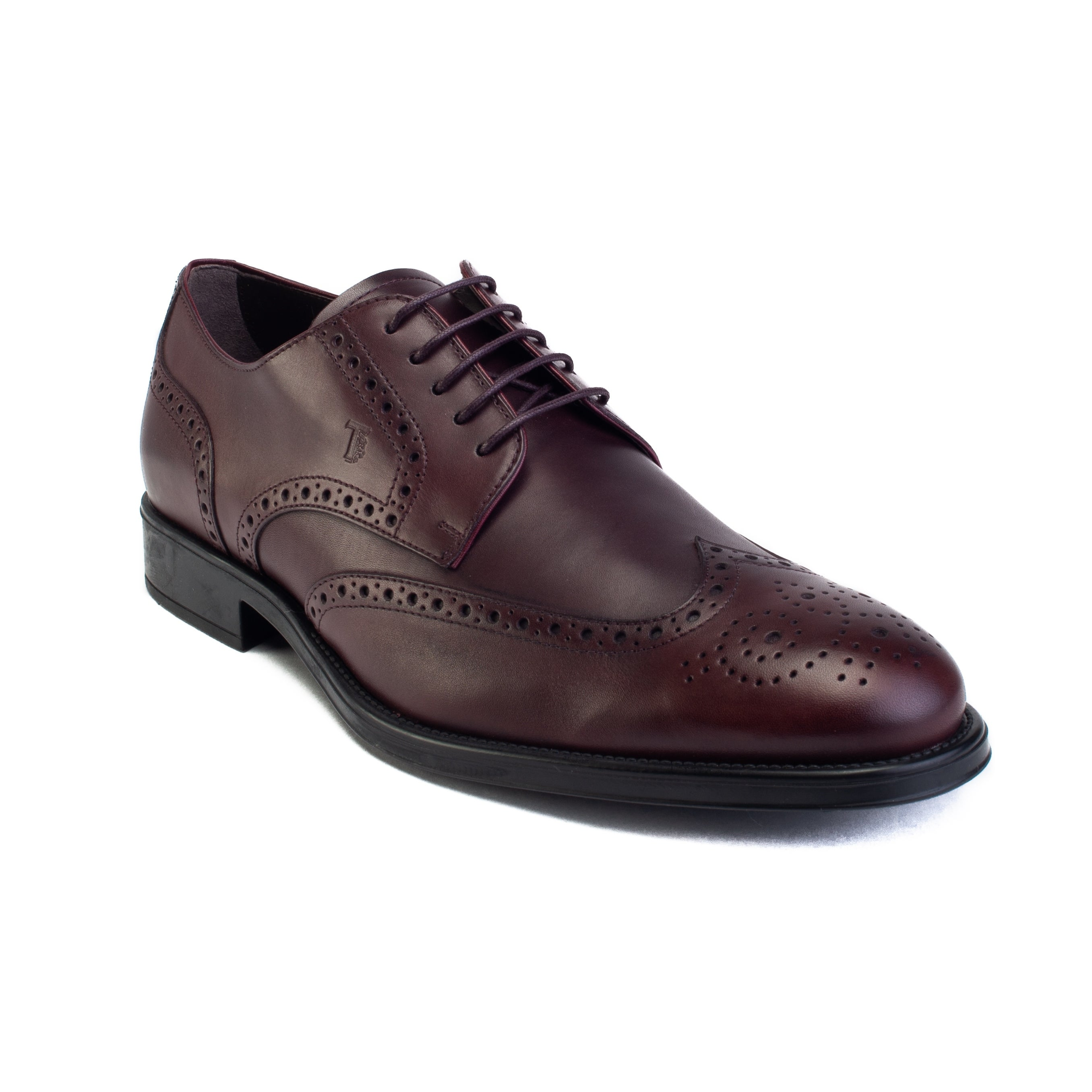 Mens Dress Shoes Derby Wingtip Lace Up Broguing Cap Toe  Dark Brown