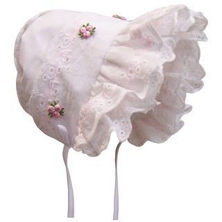 NICE CAPS Baby Girl Fancy Double Brimmed Eyelet Bonnet - White/Pink