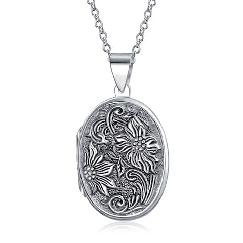 Vintage Style Embossed Sunflower Photo Oval Lockets For Women That Hold Pictures .925 Sterling Silver Locket Necklace - 18