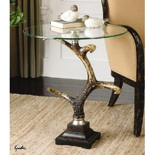 """26.5"""" Modern Country Deer Horn Round Accent Table"""