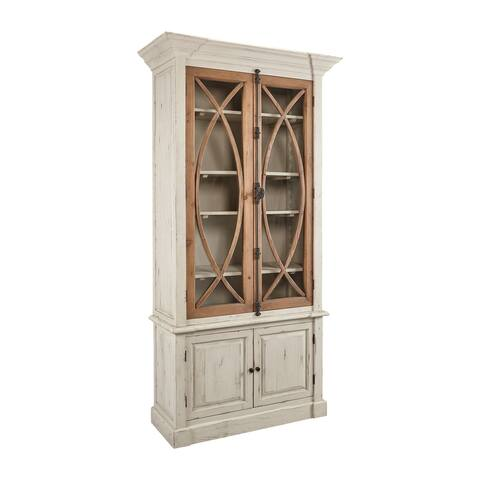 Chamblis Rustic Reclaimed Pine Fretwork Glass Door Cabinet