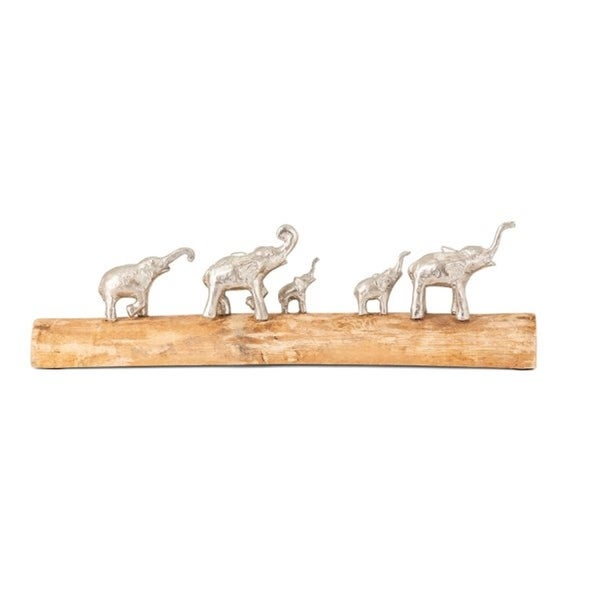"19.25"" Family of Elephants Traveling on a Log - N/A"