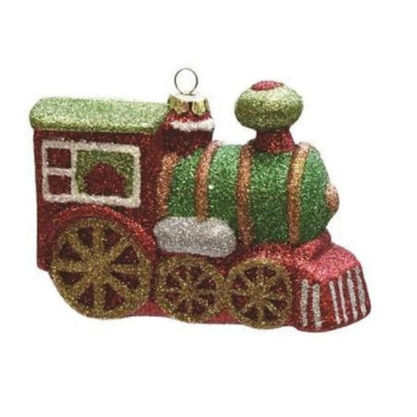 "4.25"" Merry & Bright Multi-Colored Glitter Drenched Shatterproof Christmas Train Ornament - RED"