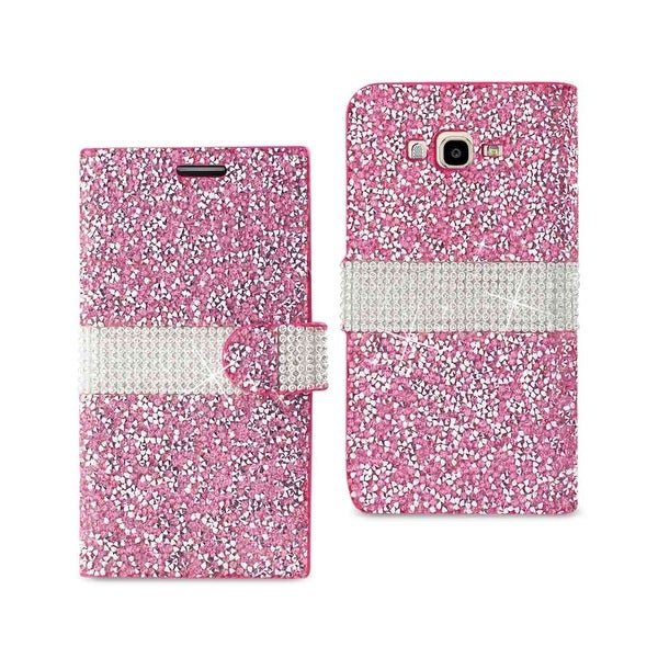 REIKO SAMSUNG GALAXY J7 JEWELRY RHINESTONE WALLET CASE IN PINK