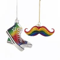 "Club Pack of 16 Rainbow Colored Mustache and Sneaker Decorative Ornaments 4"" - Red"