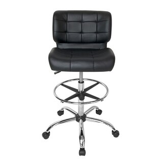 Offex Black Crest Drafting Chair - Chrome/Black