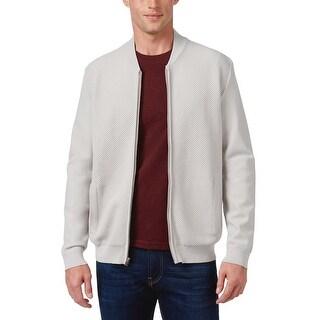 Alfani Black Label Regular Fit Whispy Grey Waffle Knit Zip Sweater Medium M