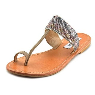 Steve Madden Aires Women Open Toe Leather Tan Flip Flop Sandal