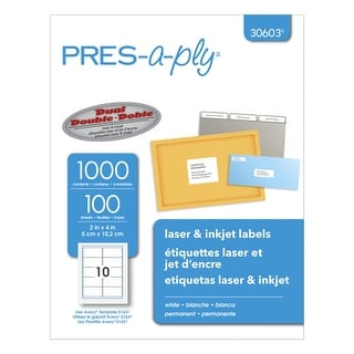 PRES-a-ply Permanent-Adhesive Shipping Labels For Laser and Inkjet Printers, 2 x 4 in, White, Box of 1000