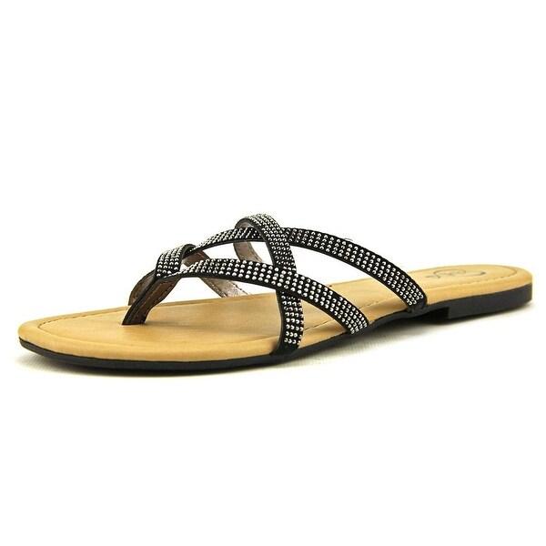 143 Girl Primotoo Women Open Toe Canvas Black Flip Flop Sandal