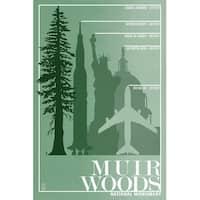 Muir Woods Monument Relative Sizes of Redwood Tree (Art Print - Multiple Sizes)