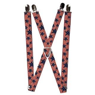 Buckle Down Women's Elastic Stars and Stripes American Flag Print Suspenders - stars and stripes - One Size