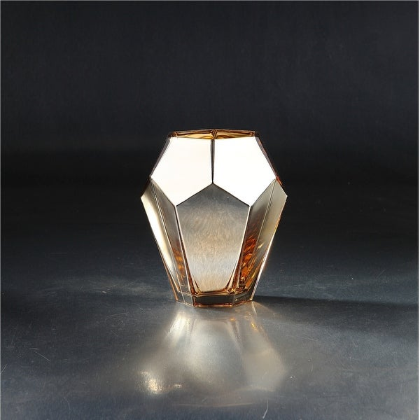 "8"" Gold Colored Metallic Geometric Faceted Glass Vase - N/A"