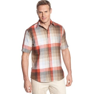 Tasso Elba Island Linen Blend Checkered Ombre Plaid Shirt Red Combo Small