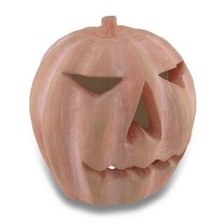 Handcrafted Plaster Jack O'Lantern Pumpkin Statue 9 1/2 Inch
