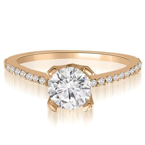 0.82 cttw. 14K Rose Gold Classic Petite Round Cut Diamond Engagement Ring