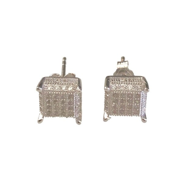 eli k Sterling Silver 925 & Micro Pave Cubic Zirconia Square Stud Earrings