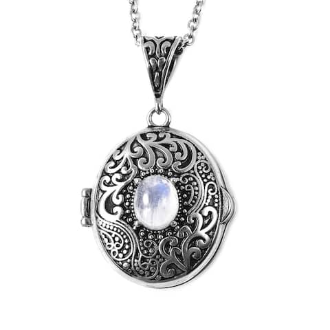 Stainless Steel White Moonstone Pendant Necklace Size 24 Inch Ct 25 - Size 24''