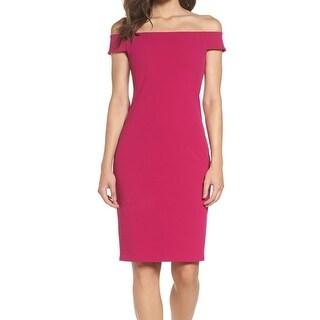Eliza J Pink Womens Size 16 Off-Shoulder Solid Seamed Sheath Dress