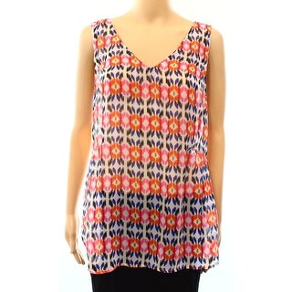 Daniel Rainn NEW White Womens Size Medium M Printed Sleeveless Tank Cami Top 257