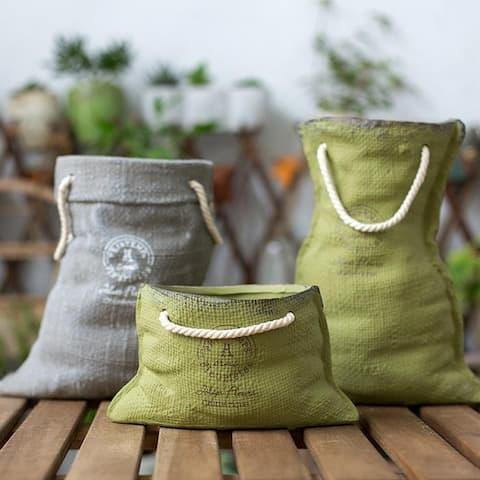 RusticReach Ceramic Planter Linen Bag Design