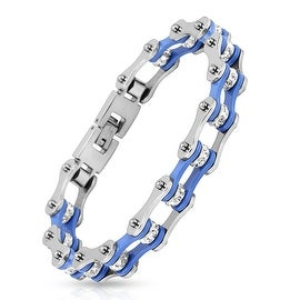 Motorcycle Chain with Blue Inner Plate Clear Gem Link 316L Stainless Steel Biker Bracelet (13.4 mm) - 9 in