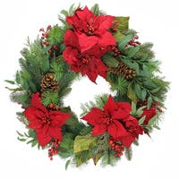 "26"" Poinsettia Berry and Pine Cone Artificial Christmas Wreath - Unlit - Green"