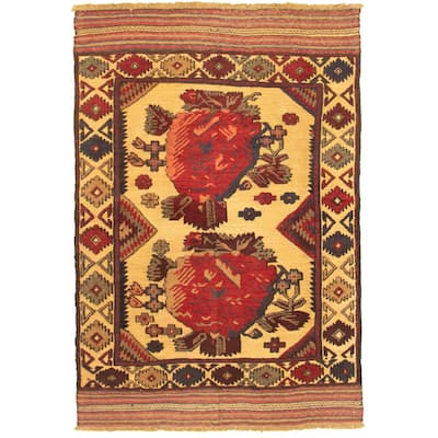 ECARPETGALLERY Hand-knotted Tajik Caucasian Beige, Dark Red Wool Rug - 4'0 x 5'10