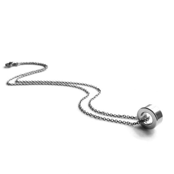 Simple Stainless Steel Silver Circle Ring Pendant Necklace by Loralyn Designs
