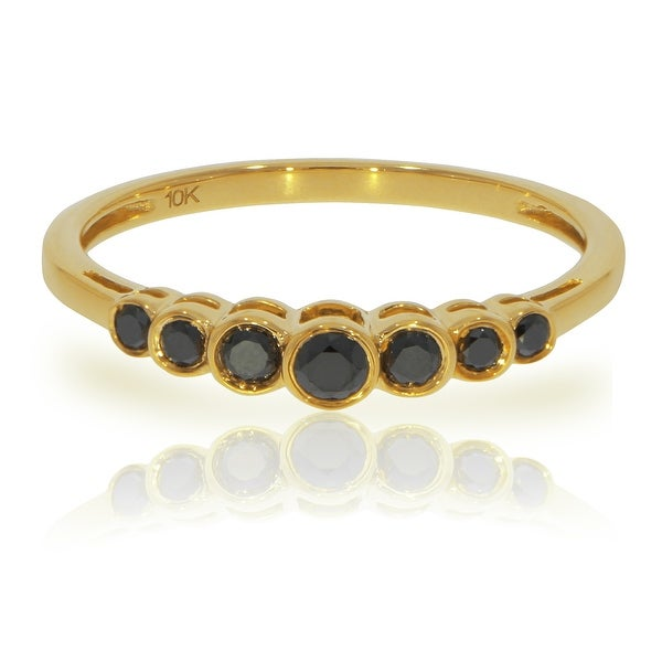 Prism Jewel 0.27Ct Round Brilliant Cut Black Diamond 7-Stone Ring