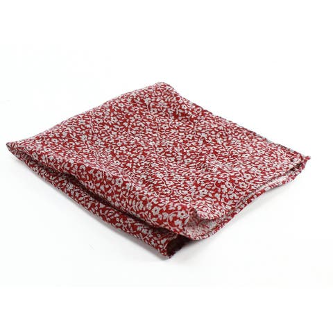 The Men's Store Mens Square Pocket Red One Size Floral Print Silk