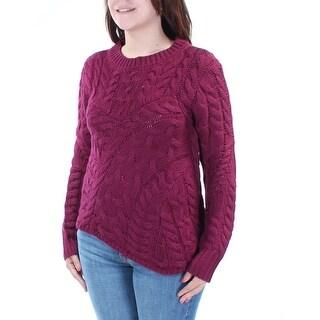 Womens Maroon Long Sleeve Jewel Neck Casual Sweater Size S