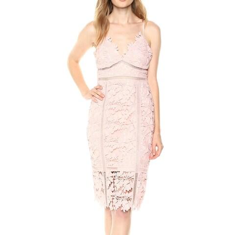 Bardot Deep Pink Womens Size 8 V-Neck Floral-Lace Sheath Dress