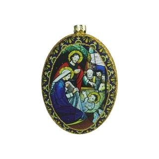 """4.75"""" Nativity Scene Glitter Accented Religious Decorative Christmas Disc Ornament"""