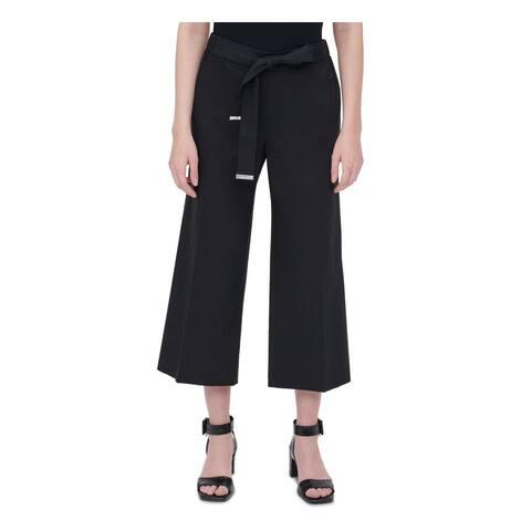 CALVIN KLEIN Womens Black Tie Wide Leg Wear To Work Pants Size 0X