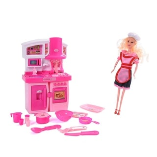 Shop Wonderplay Kitchen Set With Doll Light Music 3 Years Pink Overstock 32411422