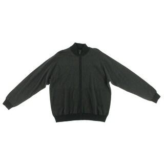 Perry Ellis Mens Wool Blend Long Sleeve Full Zip Sweater - M