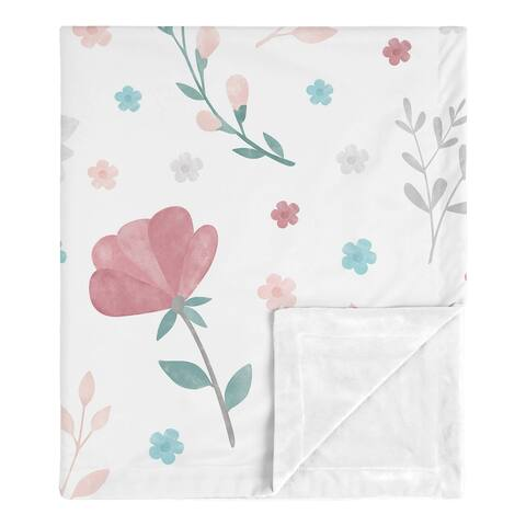 Pop Floral Rose Flowers Girl Baby Receiving Security Swaddle Blanket - Blush Pink Teal Turquoise Aqua Blue Grey Boho Shabby Chic