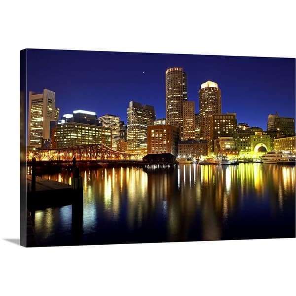 Boston City Skyline At Night Canvas Wall Art Overstock 26477353