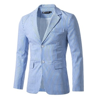 Link to Men Notched Lapel Single Breasted Slim Fit Stripes Blazer Similar Items in Sportcoats & Blazers