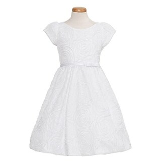 Sweet Kids Baby Girls Size 12M White Rosette Texture Mesh Easter Dress